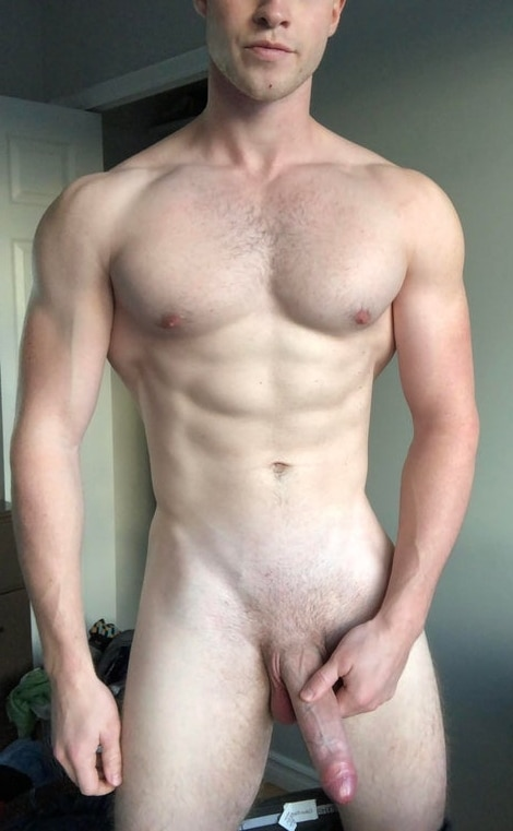 Hunk with a long uncut cock