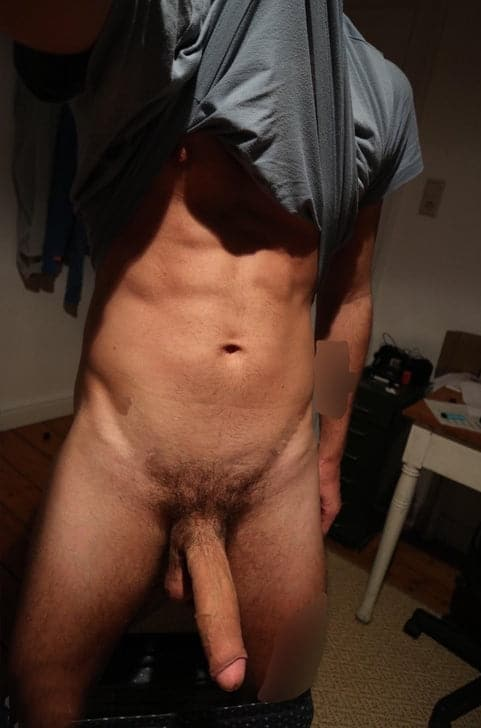 Muscular guy with a big penis
