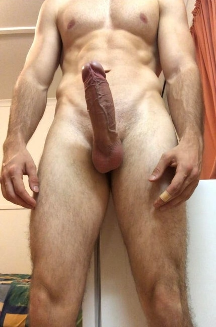 Nude hunk with erection