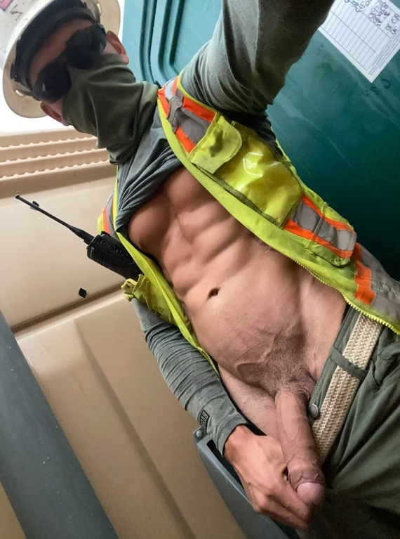Work boy showing big dick